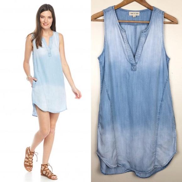 9247e29e9d1 Anthropologie Dresses   Skirts - Anthropologie Cloth   Stone Ombré Chambray  Dress